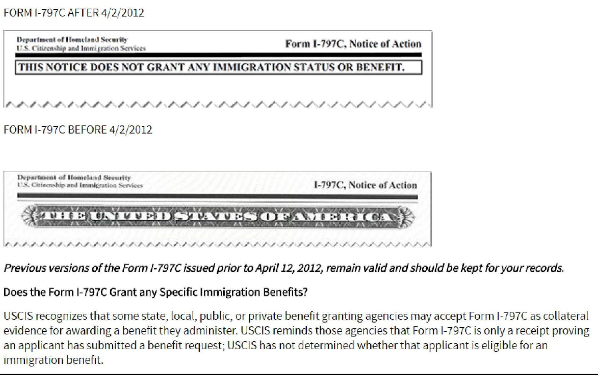 In April Of 2012 USCIS Changed The Format Form I 797 It Is Now Printed On Plain Bond Paper And Includes A Header Stating THIS NOTICE DOES NOT GRANT