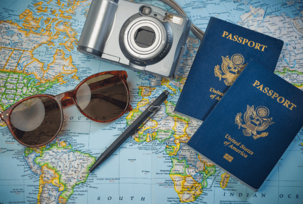 Passport, sunglasses, camera, travel