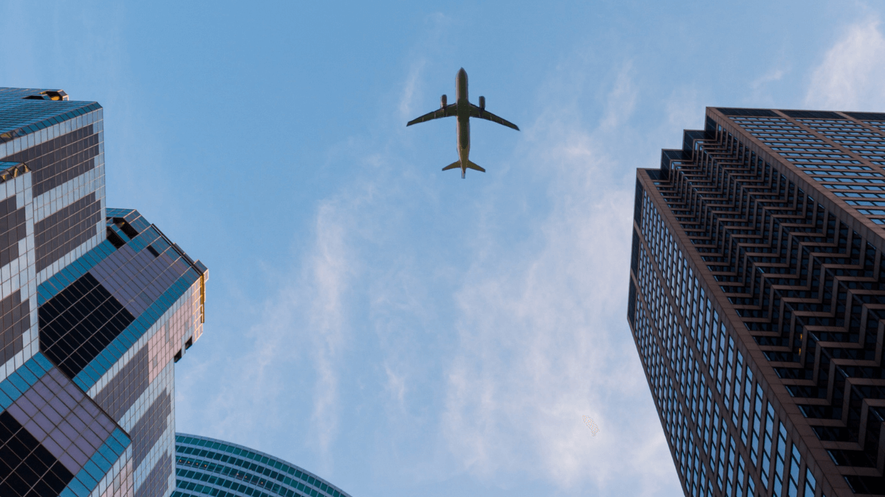 city view of an airplane from below