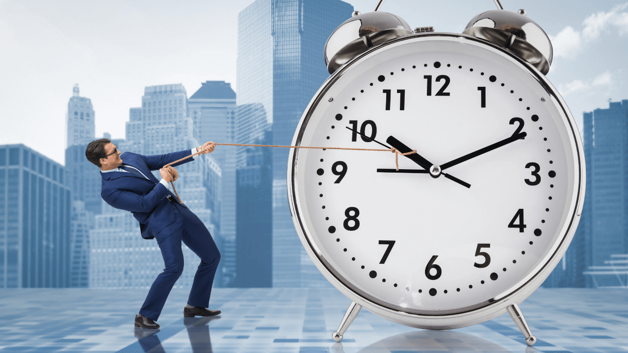 Man Pulling a Clock