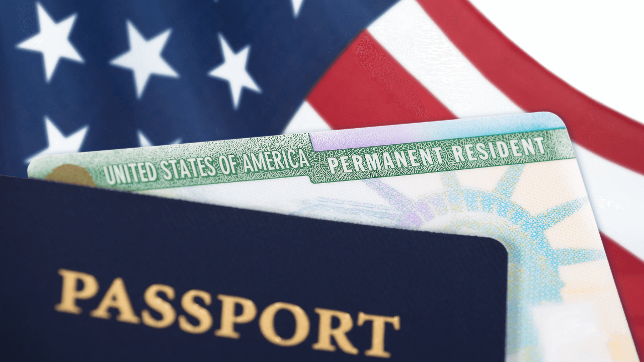 US flag, passport and Permanent Resident Card