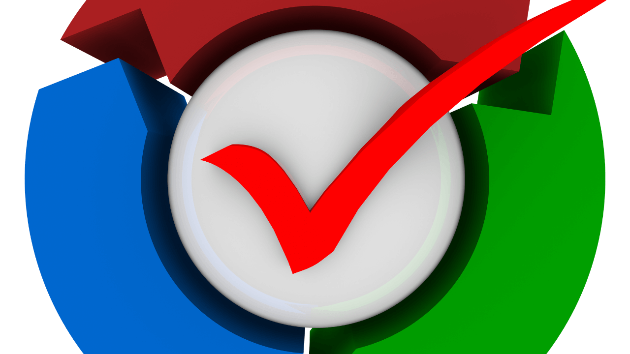 large red check mark