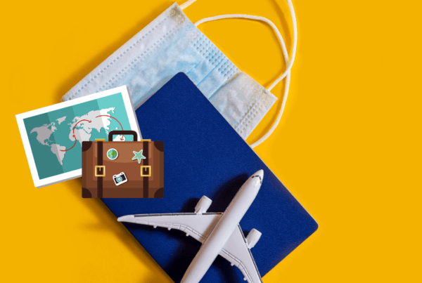 A mask, airplane, passport, luggage, map