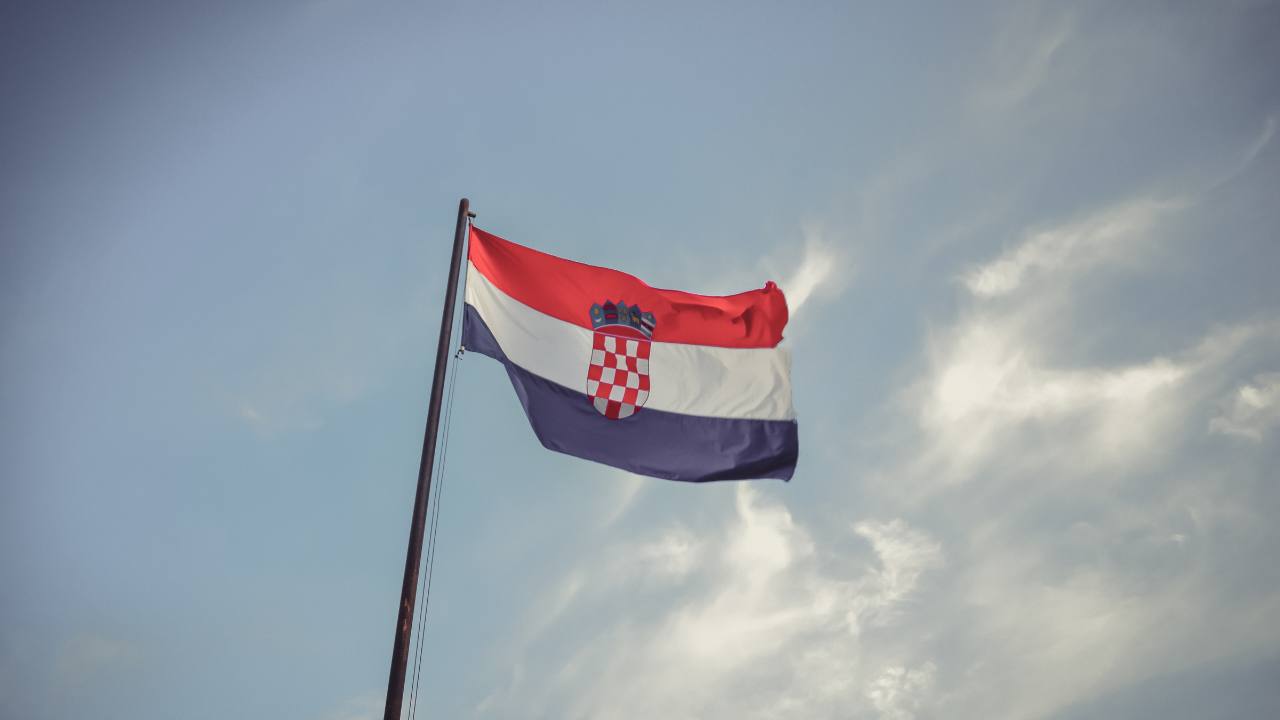 Croatia flag blowing in the wind